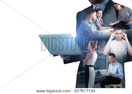 Abstract image of businesspeople using laptop on white background with copy space. Communication concept. Double exposure