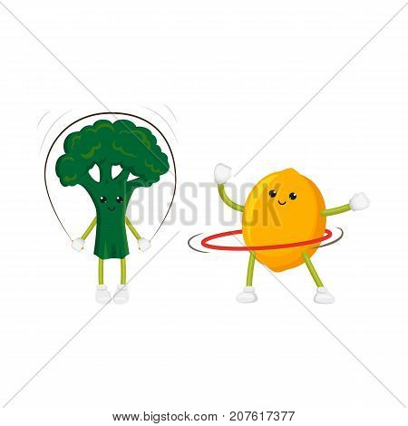 vector flat cartoon funny fruit, vegetable sport characters set. Cheerful humanized lemon, broccoli makes exercises with hula hoop, jumping rope. Isolated illustration on a white background.