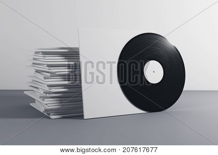 Stack of white vinyl covers on gray background. 3D Rendering
