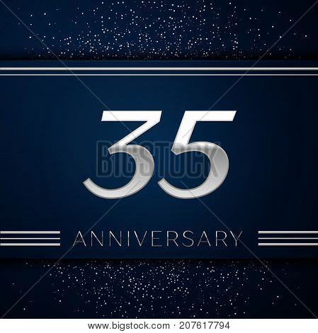 Realistic Thirty five Years Anniversary Celebration Logotype. Silver numbers and silver confetti on blue background. Colorful Vector template elements for your birthday party