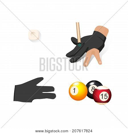 vector flat cartoon billiard snooker, pool equipment objects set. cue chalk block , hand in glove, colored balls with numbers. Isolated illustration on a white background.