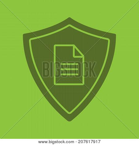 Personal document security glyph color icon. Silhouette symbol. Protection shield with private document. Negative space. Vector isolated illustration