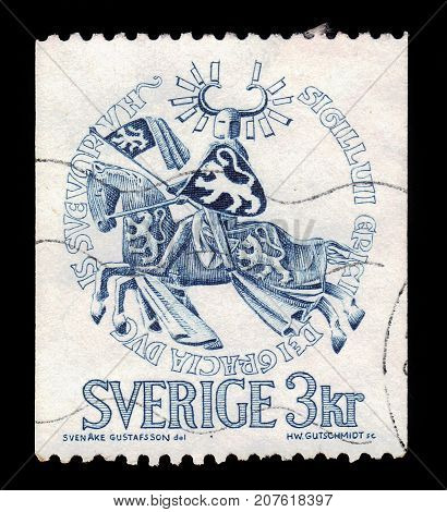 SWEDEN - CIRCA 1970: a stamp printed in the Sweden shows seal of Duke Erik Magnusson, swedish prince, circa 1970