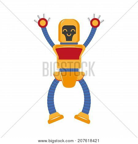 vector flat funny friendly robot set. Humanoid male character with arms, legs want to give a hug. Isolated illustration on a white background. Childish futuristic android.
