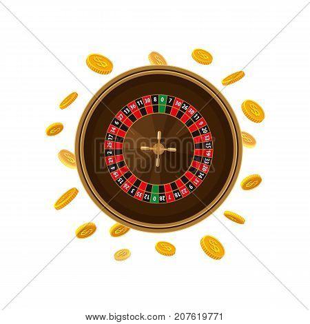 Casino roulette table game and golden coins falling down, vector illustration isolated on white background. Roulette table game, casino, gambling device