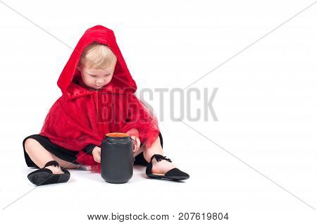 Little Red Riding Hood. Beautiful Little Girl In A Red Raincoat. Halloween