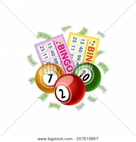 Bingo game cards and shiny round kegs, jackpot winning concept, vector illustration with shadows isolated on white background. Bingo board game, lotto cards, numbered kegs, balls and falling money