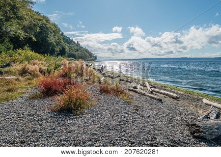 A view of the shoreline at Seahurst Beach in Burien Washington.