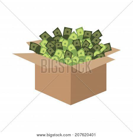 Box Of Money. Cardboard Box And Cash. Vector Illustration