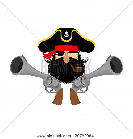 Pirate Logo. Head Of Buccaneer And Gun. Pirate Symbol. Vector Illustration