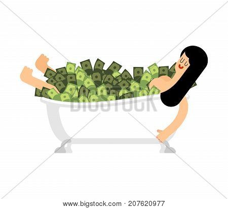 Girl In Bathtub Of Money. Woman In Bath Full Cash. Vector Illustration