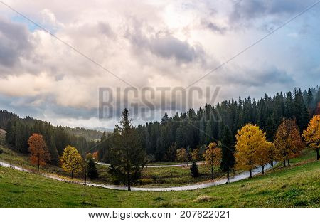 serpentine through forest in autumn. beautiful mountainous landscape with gorgeous cloudscape in evening. creative distortion applied. lovely travel background