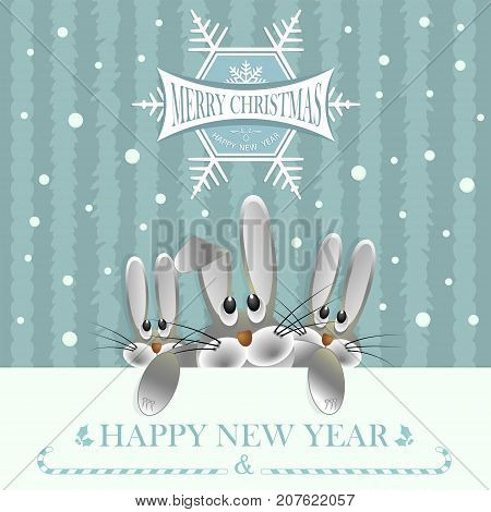 Christmas card turquoise color with three hares