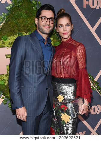 LOS ANGELES - SEP 25:  Tom Ellis and Tricia Helfer arrives for the FOX Fall Party on September 25, 2017 in West Hollywood, CA
