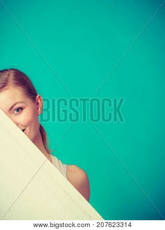 Woman Hiding Behind Big White Clean Towel