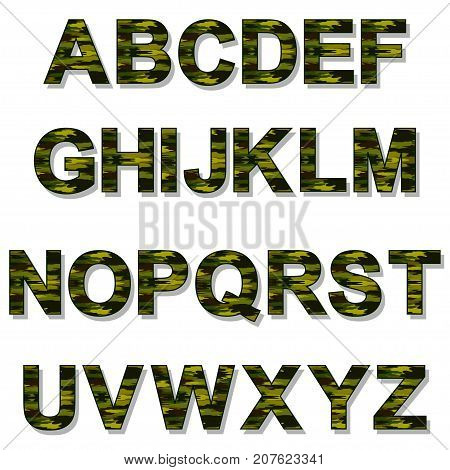 Illustration alphabet camouflage letters on a white background.