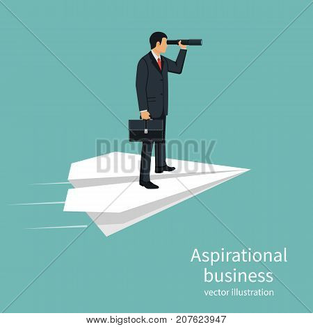 Aspirational business. Leadership isolated, concept of vision, mission ambitions. Path to success. Man with briefcase in hand flies on paper plane. Vector design. Looking in telescope seeing future.
