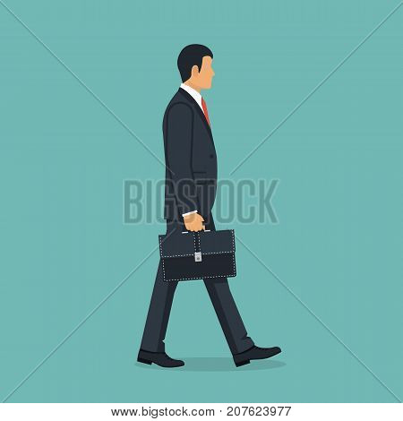 Businessman with briefcase walking to work. Vector illustration flat design. Male cartoon character. Office manager in a business suit with tie. Confident man. Isolated on background. Go ahead.