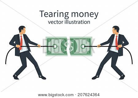 Two businessmen break a dollar bill with rope. Tearing money. Conflict businessmen, concept. Torn in half banknote. Vector illustration flat design. Isolated on white background. Financial crisis.