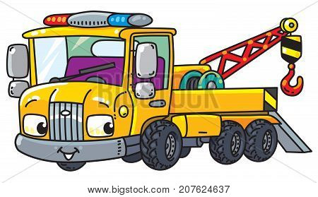 Tow Truck. Small funny vector cute car with eyes and mouth. Children vector illustration