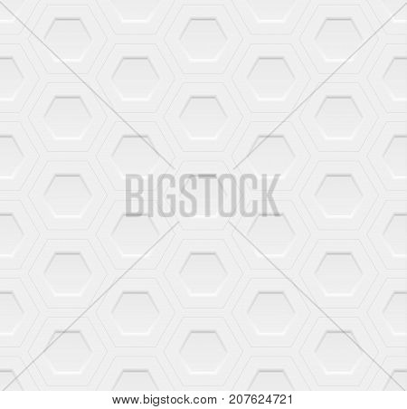 White seamless geometric pattern ribbed surface with hexagonal grooves use as a background or texture the 3D effect vector.