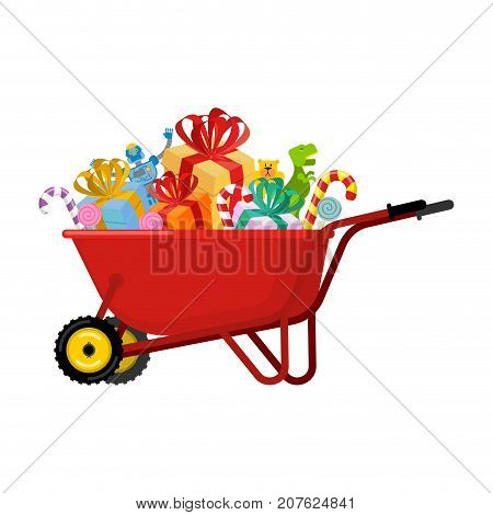 Santa Claus Wheelbarrow And Gifts. Xmas Grounds Trolley. Christmas And New Year. Vector Illustration