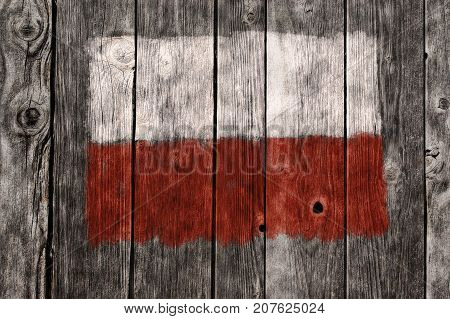 flag of poland on aged wooden wound