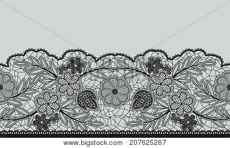 Seamless floral lace ribbon on gray. Vector illustration.