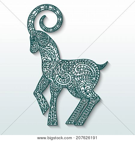 White goat of patterned paper on green silhouette - a symbol of new 2015. Stylization. Vector illustration.