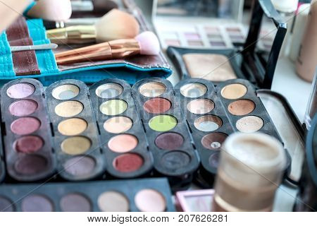Set for professional make-up. Collection of brushes and paints