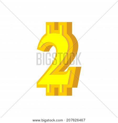 2 Numeral Bitcoin Font. Two Numeric Crypto Currency Alphabet. Lettering Virtual Money. Vector Illust