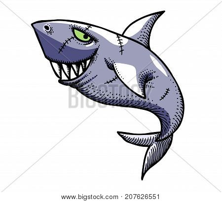 Shark hand drawn image. Original colorful artwork, comic childish style drawing.
