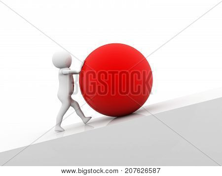 Business man pushing a huge red ball up hill. 3d render