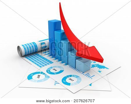 Financial crisis concept, Economic Crisis. Business fall, 3d rendering