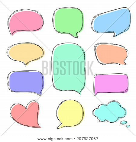 Doodle colorful speech bubbles. Hand drawn speech bubbles in comic style. Vector set of dialog windows.