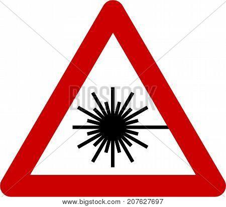 Warning sign with laser beam symbol on white background