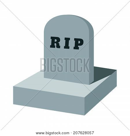 Rip Grave Cartoon Icon. Isolated Vector Illustration.