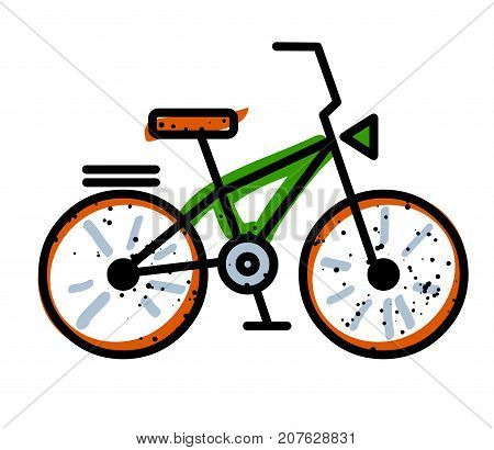 Bicycle freehand picture. Artistic drawing. Authentic cartoon.