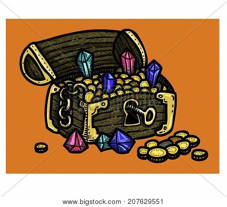 Treasure chest freehand picture. Artistic drawing. Authentic cartoon.
