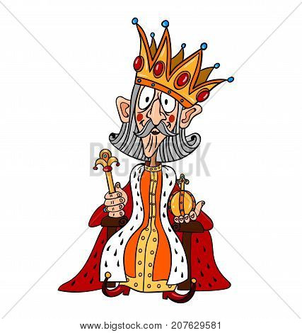 King with huge crown freehand picture. Artistic drawing.