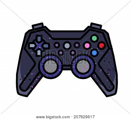 Gamepad freehand picture. Artistic drawing. Authentic cartoon.