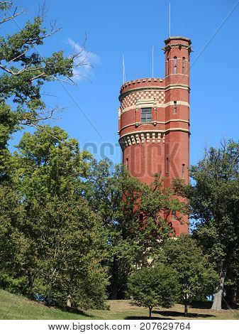 The handsome brick 172 foot Water Tower located in Eden Park in Cincinnati Ohio dates from 1894 and is now used by the city as a communication facility.