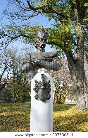 Chernihiv, UKRAINE ,October 19,2011:The monument to Hetman Mazepa in Ukraine- city Chernigov. One of the first monuments to Mazepa in independent Ukraine