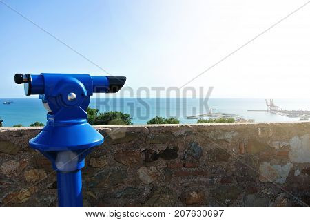 View Point At Malaga Fortress (alcazaba), A Blue Coin Telescope And A Beautiful View To Mediterranea