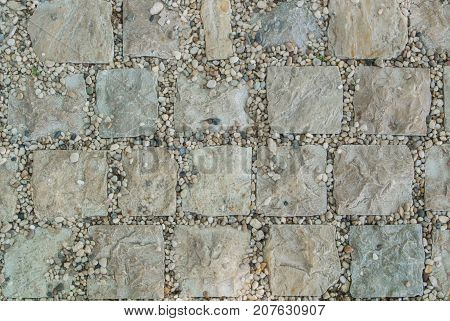 Light Gray Granite Stone Pavement Texture, Abstract Cobblestone Pavement Close-up.