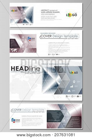 Social media and email headers set, modern banners. Business design templates. Vector layouts in popular sizes. Simple monochrome geometric pattern. Abstract polygonal style, stylish background