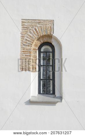 Window of ancient temples and a fragment of masonry walls in Chernigov. Ukraine