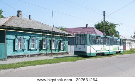 Tram on the streets of the city Konotop.. Sumy region Ukraine