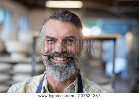 Portrait of happy male potter standing in pottery workshop