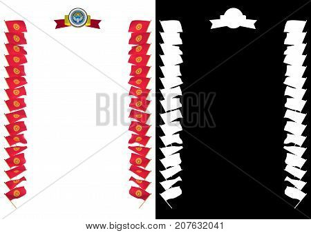 Frame And Border With Flag And Coat Of Arms Kyrgyzstan. 3D Illustration